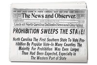 Newspaper Headline: Prohibition Sweeps the State!